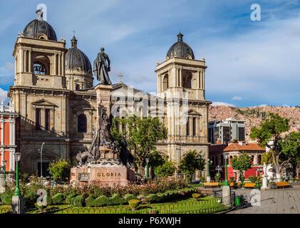 Plaza Murillo avec Basilique Cathédrale de Notre Dame de la paix, La Paz, Bolivie Banque D'Images