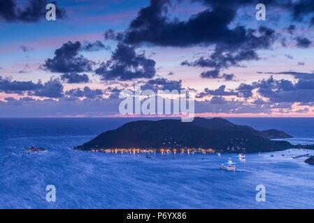 Îles Vierges britanniques, Virgin Gorda, Anegada de North Sound et Bitter End Yacht Club de Fanny Hill, Dawn Banque D'Images