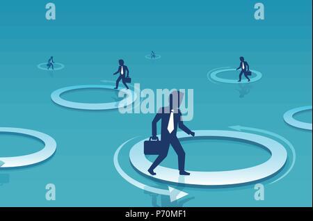 Vecteur d'un businessman walking à l'intérieur du cercle. Défi de l'entreprise et la difficulté à concept Banque D'Images