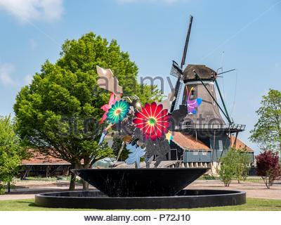 IJlst, Pays-Bas - le 20 mai 2018: Capitale européenne de la culture 2018, ce Leeuwarden-Friesland est une nouvelle fontaine a été placé en IJlst. Avec le Banque D'Images
