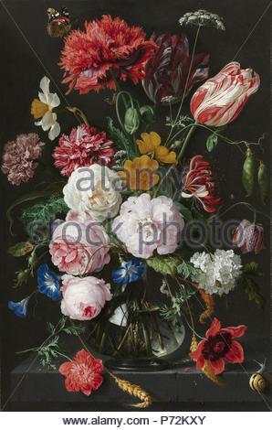 Nature morte avec fleurs dans un vase en verre, Jan Davidsz. De Heem, 1650 - 1683. Banque D'Images