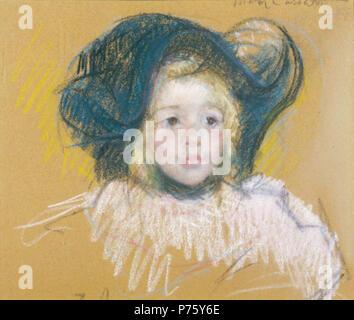 Mary Cassatt Petite Fille Dans Un Grand Chapeau Banque D