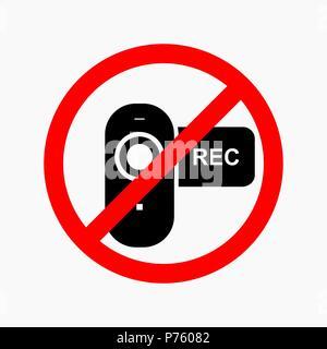 Pas de signe d'interdiction de la vidéo. Pas de photo ou caméra. Banque D'Images