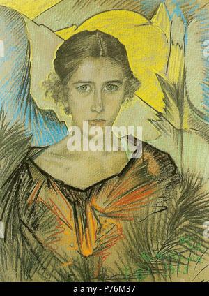 Polski: 'Portret kobiety', na papierze pastel, 64 x 48 cm, Muzeum Pomorza, rodkowego Supsk . 19254 Witkacy-Portret kobiety 7