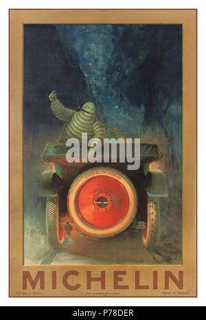Historique Vintage MICHELIN début de 1900 poster pour les pneus Michelin avec Bibendum Michelin 'homme' en pointant sur pneu de voiture avec MICHELIN CABLÉ impressionné en relief Banque D'Images