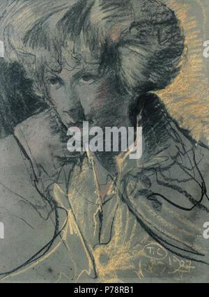 Polski: 'Portret kobiety', na papierze pastel, 61 x 46,2 cm, wasno prywatna . 1927 -05 4 Witkacy-Portret kobiety 8