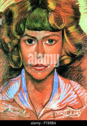 Polski: 'Portret kobiety', na papierze pastel, 67 x 49 cm, wasno prywatna . 4 avril 1928 Witkacy-Portret kobiety 6