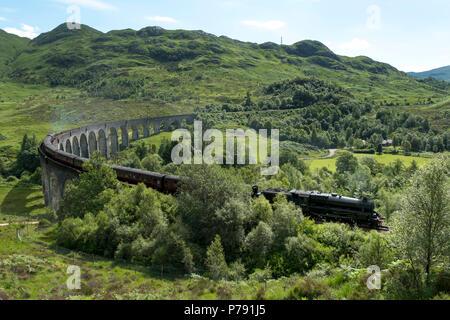 L'Express Jacobite, également connu comme le Poudlard Express franchit le viaduc de Glenfinnan, sur la route entre Fort William et Mallaig. Banque D'Images