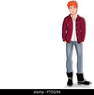 Vector illustration de rousse beau jeune homme portant des vêtements décontractés en gardant les mains dans les poches de jeans isolé sur fond blanc. Adorabl Banque D'Images