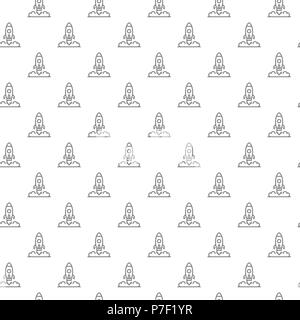 Fusée simple et transparente de vaisseau spatial pattern avec différentes icônes et symboles sur fond blanc télévision vector illustration Banque D'Images