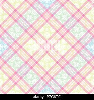 Inspiré du tartan pastel transparente motif de fond 2 vecteur Banque D'Images