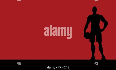 Basket-ball Player Silhouette Background Banque D'Images