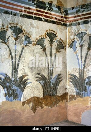 Fresque de papyrus, ca. 1550 BC. Minoan. L'Âge du Bronze. D'Akrotiri, l'île de Théra (Santorin). Trois plantes à tige, sont peints sur les murs. Prix de ces dames. Musée de la Théra préhistorique. Santorin, Grèce. Banque D'Images