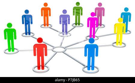 Concept de connexion réseau, rendu 3D isolé sur fond blanc Banque D'Images