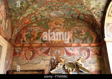L'Italie, Lazio, Rome, centre historique classé au Patrimoine Mondial par l'UNESCO, la Piazza Navona, le Palazzo Altemps (Musée National Romain), Loggia des Empereurs Banque D'Images