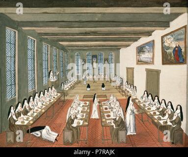 Abbaye de Port-Royal des Champs. Monastère cistercien féminin du jansénisme diffuseur. Le réfectoire. La peinture attribuée à Madeleine Boulogne (1648-1710). Château de Versailles. La France. Banque D'Images