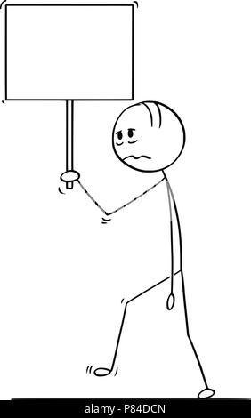 Caricature de l'homme déprimé ou triste ou Businessman Walking avec signe vide Banque D'Images