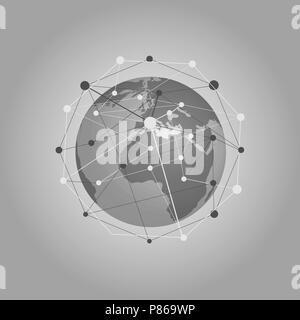 Cloud Computing et réseaux Concept avec Earth Globe - Résumé des connexions numériques à l'échelle mondiale, la technologie, l'arrière-plan modèle d'élément de design créatif Banque D'Images
