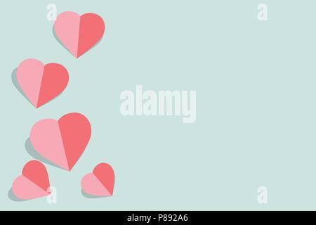 Vector illustration papier rose avec coeurs Valentines Day card sur fond bleu pastel avec copie espace pour carte de vœux ou carte de mariage Banque D'Images