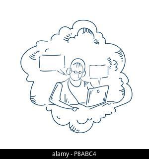 Casque portable de travail homme bulle annonceur concept chat fond blanc doodle croquis Banque D'Images
