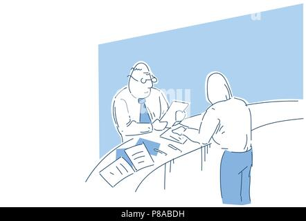 Demandeur d'emploi lecture patron reprendre contrôle de l'expérience de travail au cours de l'entrevue recruteur bureau ou de l'employeur à la demande de doodle croquis Banque D'Images