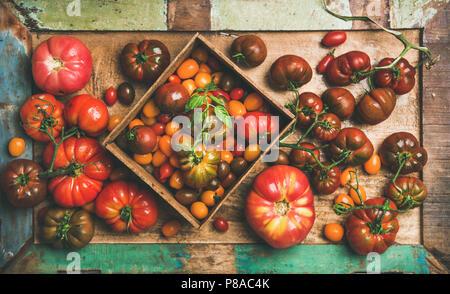 Télévision à jeter de produits frais mûrs colorés de l'automne ou l'été heirloom, bunch et tomates cerises toutes sortes sur le bac plus rustique en bois peint en arrière-plan, Vue de dessus. Lo Banque D'Images