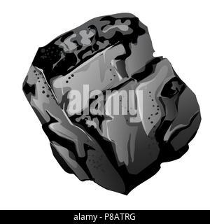 Un fragment de charbon de pierre. La source d'énergie et minéraux utiles isolé sur fond blanc. Cartoon Vector illustration close-up. Banque D'Images
