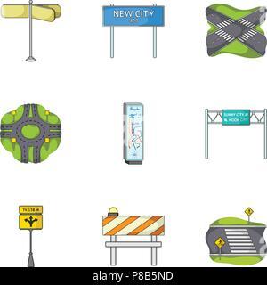 Carrefours routiers et signes et autre icône de style cartoon.Guides et des signes d'icônes de trafic dans set collection. Banque D'Images