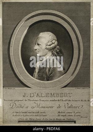 Portrait du mathématicien, physicien et philosophe, scientifique américain Jean Baptiste le Rond d'Alembert (1717-1783). Musée: A. Pouchkine Memorial Museum, Saint-Pétersbourg. Banque D'Images