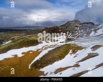 Vue aérienne de l'Islande Landscape with Snow Banque D'Images