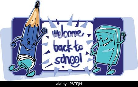 Bienvenue à l'école cartoon style vector illustration