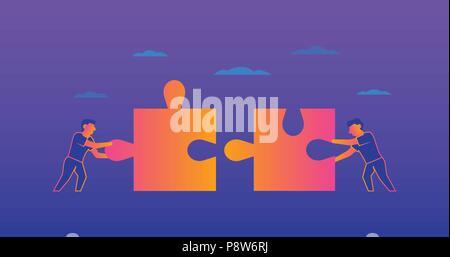 Le travail d'équipe sur fond violet Gradient illustration Banque D'Images