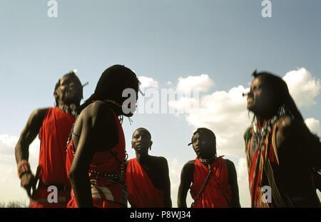Semi-nomades Masaï situé dans la réserve nationale de Masai Mara au Kenya l'Afrique. Les hommes et les femmes portent des expansions colorées aux oreilles d'un pouce de longueur au bas de l'oreille , et le diamètre d'un petit coin en haut, qui ont tendance à décorer avec du bois et de perles de couleur . Dans le monde d'utilisation | Banque D'Images