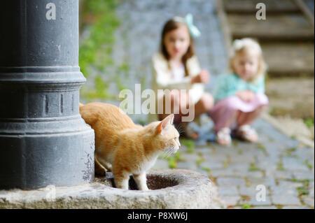 Chat rouge boire hors de ville fontaine en Italie avec deux enfants regardant en arrière-plan Banque D'Images