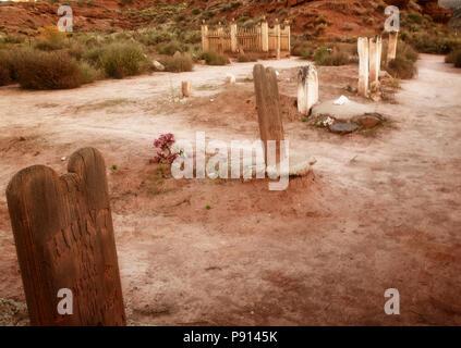 Un cimetière des colons à Grafton, en Utah. Banque D'Images