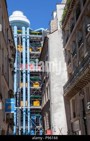 Centre Pompidou Vue à partir de la rue Simon le Franc à Paris, France Banque D'Images
