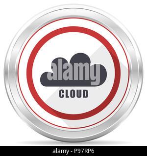Silver Cloud chrome métallique ronde frontière icône web sur fond blanc Banque D'Images