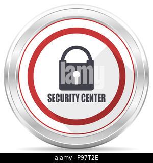 Centre de sécurité chrome argent métallique ronde frontière icône web sur fond blanc Banque D'Images