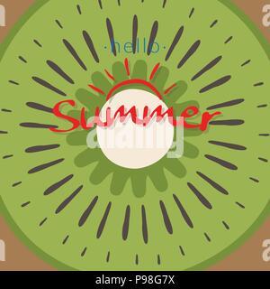 Tranche de kiwi la texture de fond de fruits tropicaux. morceau de kiwi avec texture mot bonjour. d'été pour l'été kiwi frais icône logo vector illustration