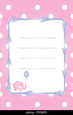 Carte fille de bébé - bébé douche partie - invitation - invitation baptême avec l'éléphant rose