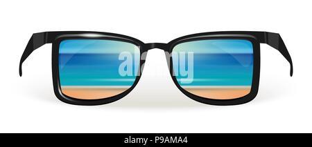 bac4aa4f97910b Verres en plastique coloré. Télévision vector illustration sur fond blanc. Place  pour le texte. La plage de la mer se reflète dans les lunettes de soleil.