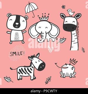 Animaux de dessin animé  Doodle mignon personnage animal sauvage, le zèbre,  l éléphant, l ours 6abeecbf6b5