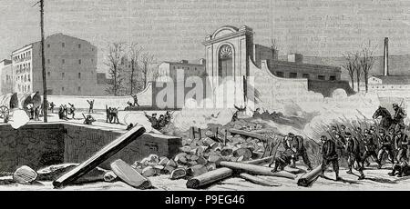 L'Espagne. La Catalogne. Barcelone. Soulèvement contre la conscription en 1870. La barricade construite au pied de l'Espana Industrial (Sants) est attaqué par les troupes. Gravure de Laporta. 'La Ilustracion Espanola y Americana', 1870.