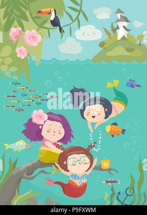 Cute cartoon avec de belles sirènes Underwater World Banque D'Images