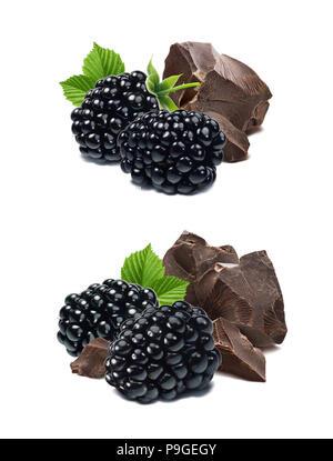 Blackberry et de morceaux de chocolat isolé sur fond blanc comme élément de la conception de l'emballage Banque D'Images