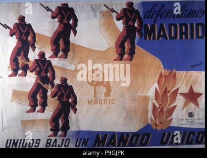 Guerre civile espagnole (1936 - 1939), affiche de propagande du gouvernement républicain encourageant le d… Banque D'Images