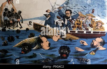"""Caricature satirique en allusion à la perte de Puerto Rico publié dans """"La Flaca"""", n° 42, Barc… Banque D'Images"""