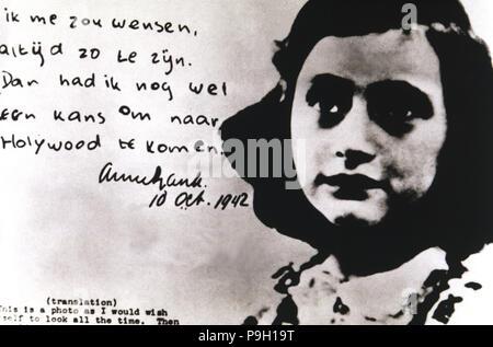 Anne Frank (Annelies Marie, appelé) (1929-1945), jeune fille juive qui est mort dans le camp de concentration de Bergen-Belsen, célèbre pour son 'cours'. Banque D'Images