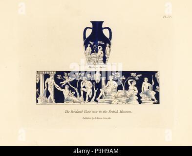 Vase de Portland au British Museum. Cameo vase de verre bleu et blanc avec des figures mythologiques ou historiques. La gravure sur cuivre coloriée par Henry Moïse à partir d'une collection de vases antiques, autels, etc., Londres, 1814.