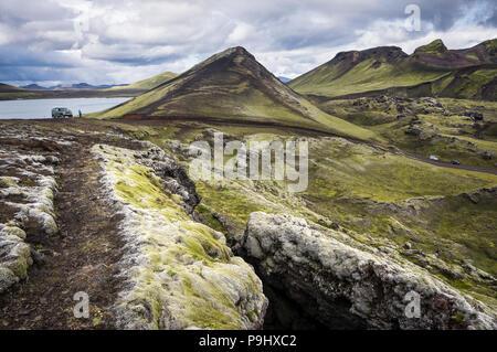 Beau paysage à Landmannalaugar (Montagnes de l'Arc-en-ciel), l'Islande Banque D'Images